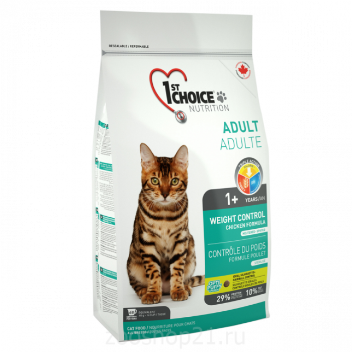 Корм 1st Choice для кошек с лишним весом, 2.72 кг
