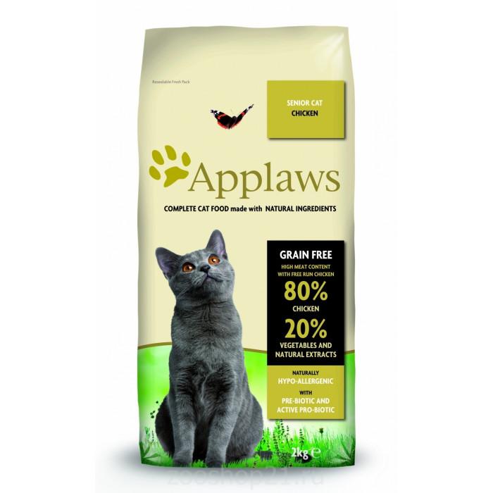 """Корм Applaws Беззерновой для Пожилых кошек """"Курица/Овощи: 80/20%"""" (Dry Cat Senior), 2 кг"""
