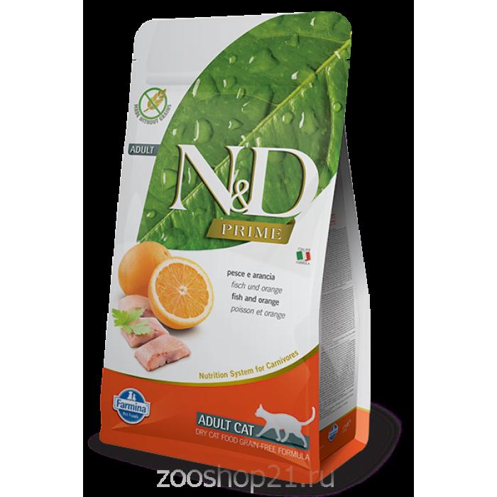 Корм Farmina N&D Fish & Orange Adult беззерновой для взрослых кошек рыба с апельсином, 1.5 кг