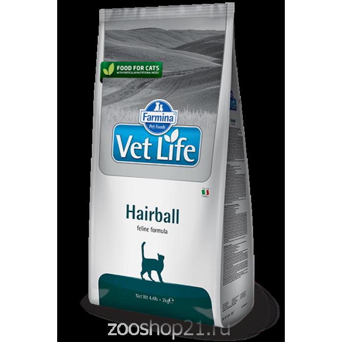 Корм Farmina Vet Life Hairball для кошек выведение шерстяных комочков, 10 кг