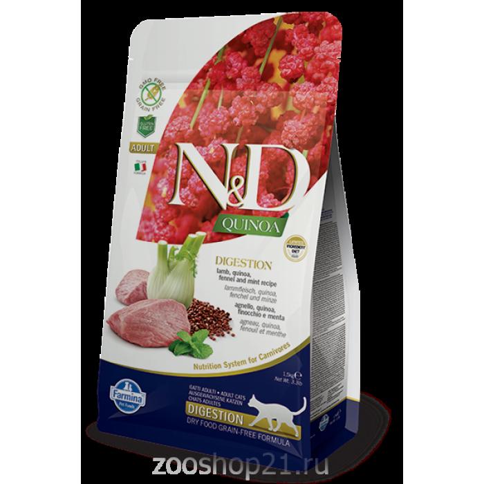 Корм Farmina N&D Quinoa Digestion Lamb беззерновой для кошек с чувствительным пищеварением киноа и ягненок, 1.5 кг