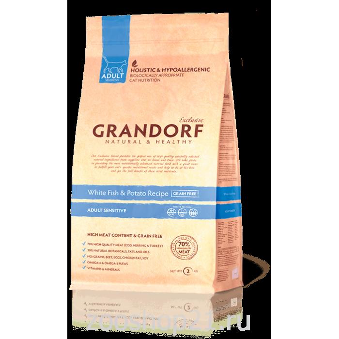Корм GRANDORF SENSITIVE для кошек всех пород белая рыба с бататом, 2 кг