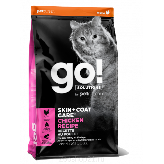 Корм Go! Skin & Coat Chicken для кошек с Цельной Курицей/фруктами и овощами, 1.36 кг