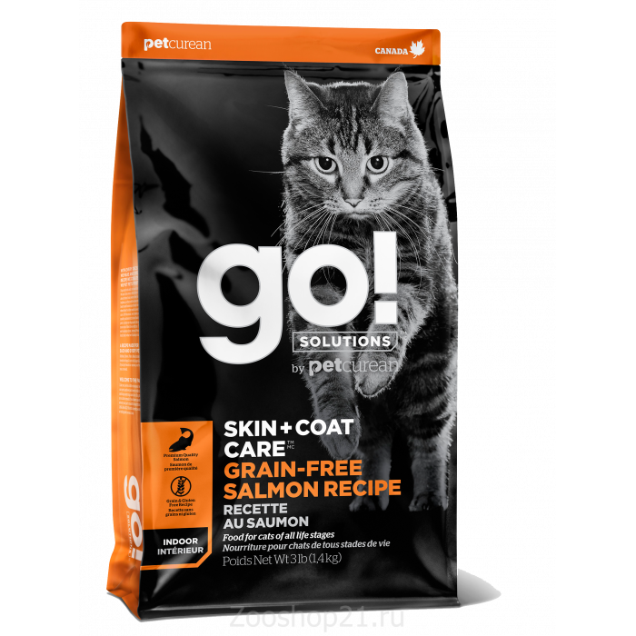 Корм Go! Skin & Coat Grain Free Salmon беззерновой для кошек с Лососем, 7.26 кг