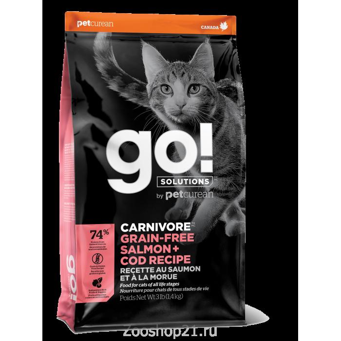 Корм Go! Carnivore GF Salmon & Cod беззерновой для кошек с Лососем и Треской, 1.4 кг