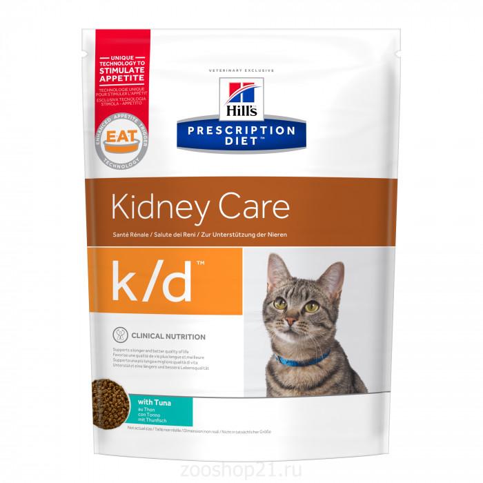 Корм Hill's Prescription Diet k/d Kidney Care для кошек диета для поддержания здоровья почек с тунцом, 1.5 кг