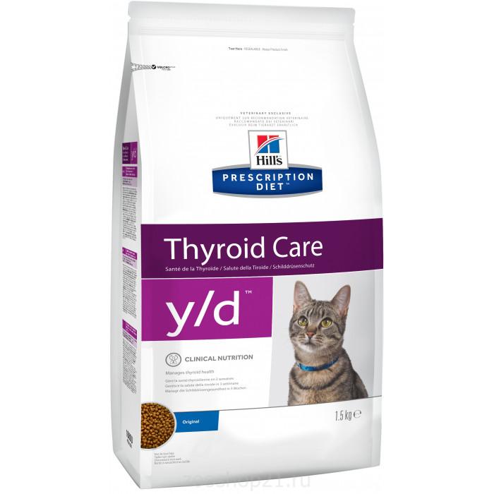 Корм Hill's Prescription Diet y/d Thyroid Care для кошек диета для поддержания здоровья щитовидной железы 1.5 кг