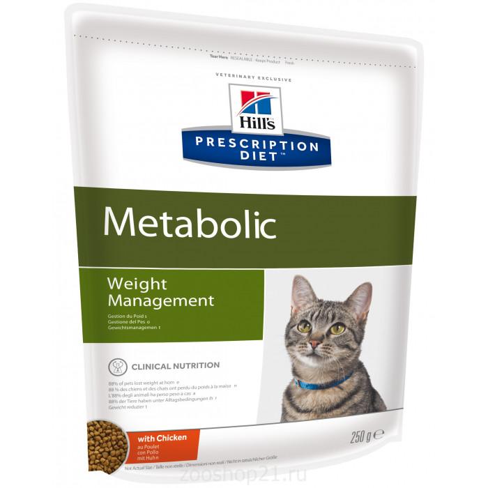 Корм Hill's Prescription Diet Metabolic Weight Management для кошек диета для достижения и поддержания оптимального веса с курицей, 250 г