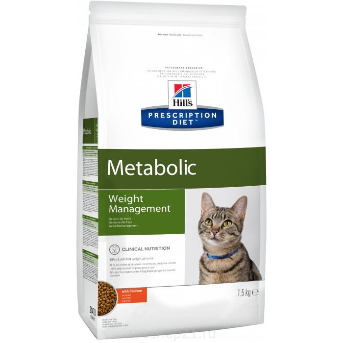 Корм Hill's Prescription Diet Metabolic Weight Management для кошек диета для достижения и поддержания оптимального веса с курицей, 1.5 кг