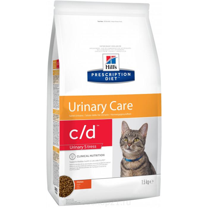Корм Hill's Prescription Diet c/d Urinary Stress для кошек для мочевыводящих путей и при стрессе одновременно курица, 1.5 кг