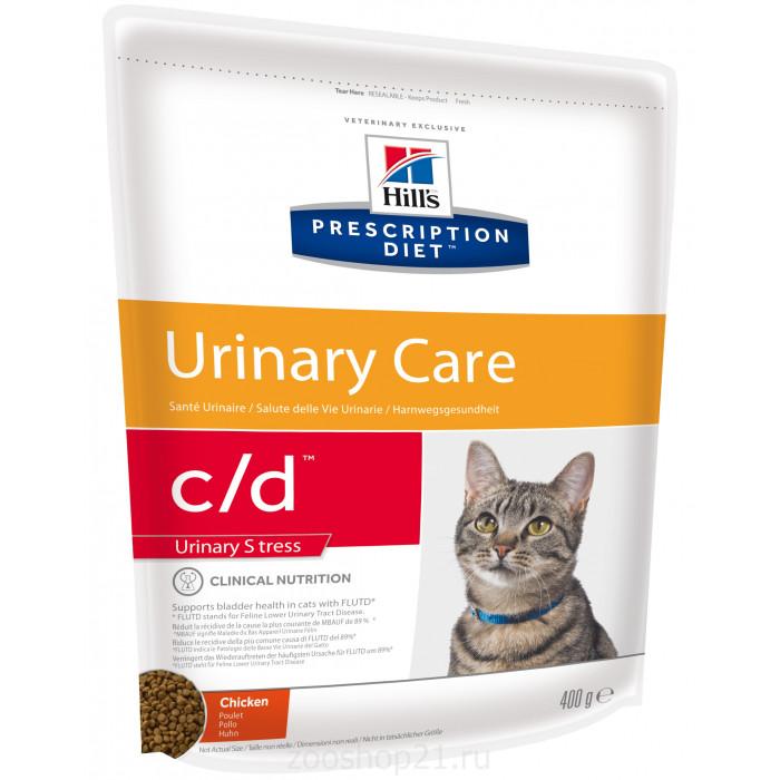 Корм Hill's Prescription Diet c/d Urinary Stress для кошек для мочевыводящих путей и при стрессе одновременно курица, 400 г