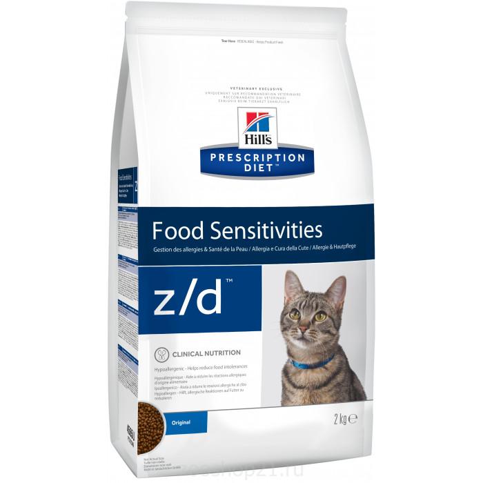 Корм Hill's Prescription Diet z/d Food Sensitivities для кошек диета для поддержания здоровья кожи и при пищевой аллергии 2 кг