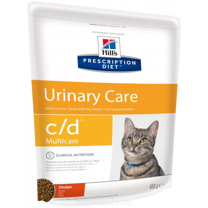 Корм Hill's Prescription Diet c/d Multicare Urinary Care для кошек диета для поддержания здоровья мочевыводящих путей курица, 400 г