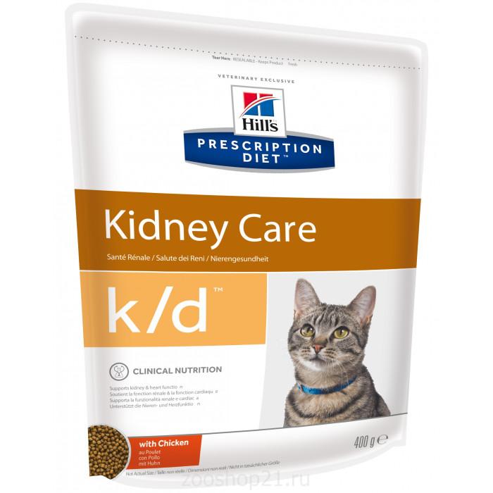 Корм Hill's Prescription Diet k/d Kidney Care для кошек диета для поддержания здоровья почек с курицей, 400 г