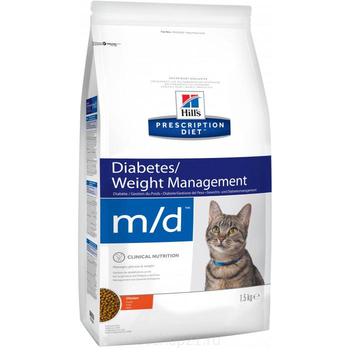 Корм Hill's Prescription Diet m/d Diabetes/Weight Management для кошек диета для поддержания здоровья при сахарном диабете курица 1.5 кг