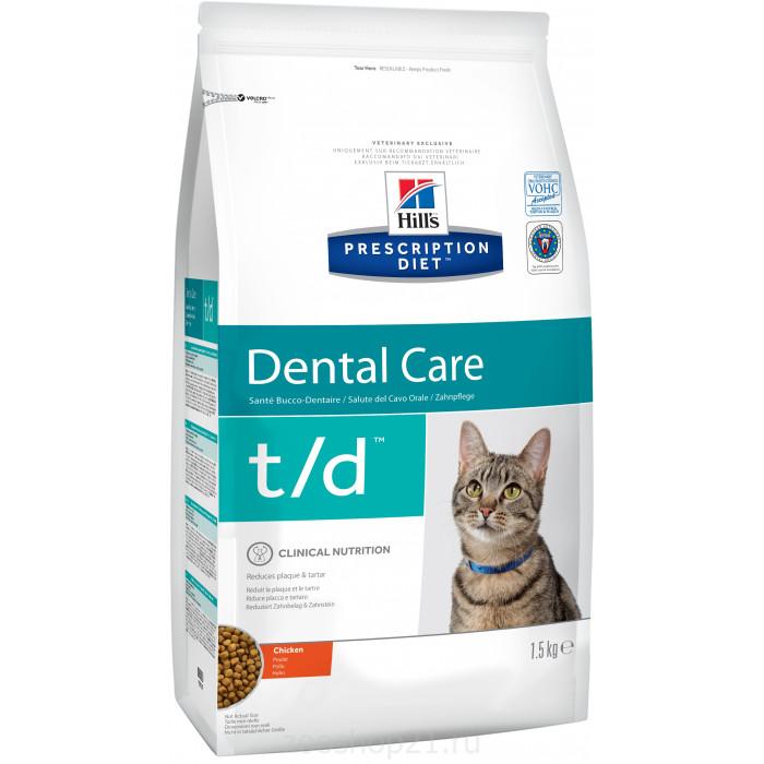 Корм Hill's Prescription Diet t/d Dental Care для кошек диета для поддержания здоровья ротовой полости курица 1.5 кг