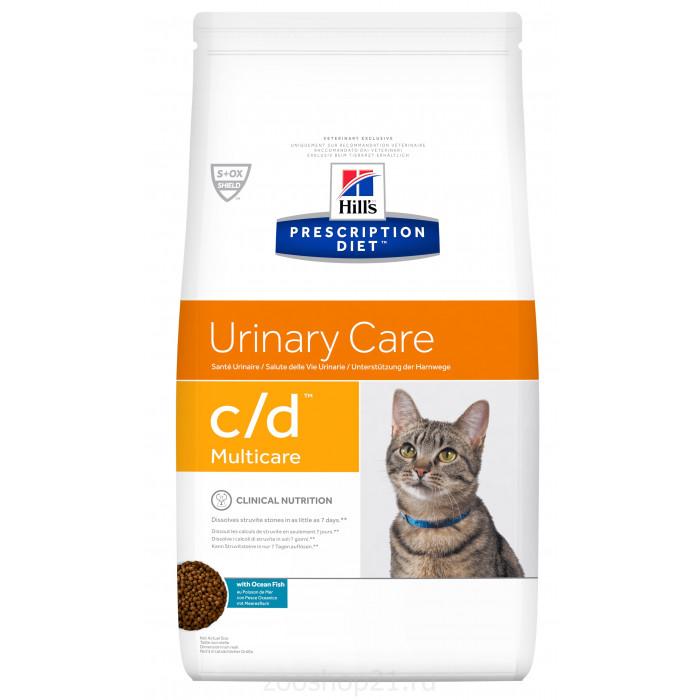 Корм Hill's Prescription Diet c/d Multicare Urinary Care для кошек для поддержания здоровья мочевыводящих путей с океанической рыбой, 1.5 кг
