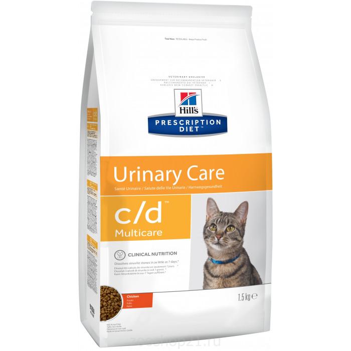 Корм Hill's Prescription Diet c/d Multicare Urinary Care для кошек диета для поддержания здоровья мочевыводящих путей курица, 1.5 кг