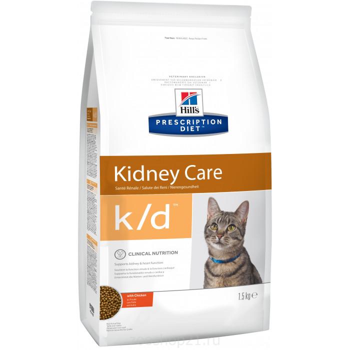 Корм Hill's Prescription Diet k/d Kidney Care для кошек диета для поддержания здоровья почек с курицей, 1.5 кг
