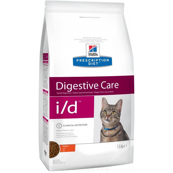 Корм Hill's Prescription Diet i/d Digestive Care для кошек диета для поддержания здоровья ЖКТ курица, 1.5 кг
