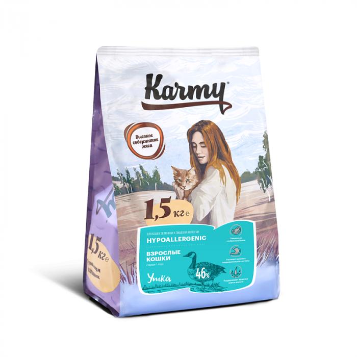 Корм KARMY Гипоаллергенный д/кошек склонных к пищевой аллергии Утка, 1.5 кг