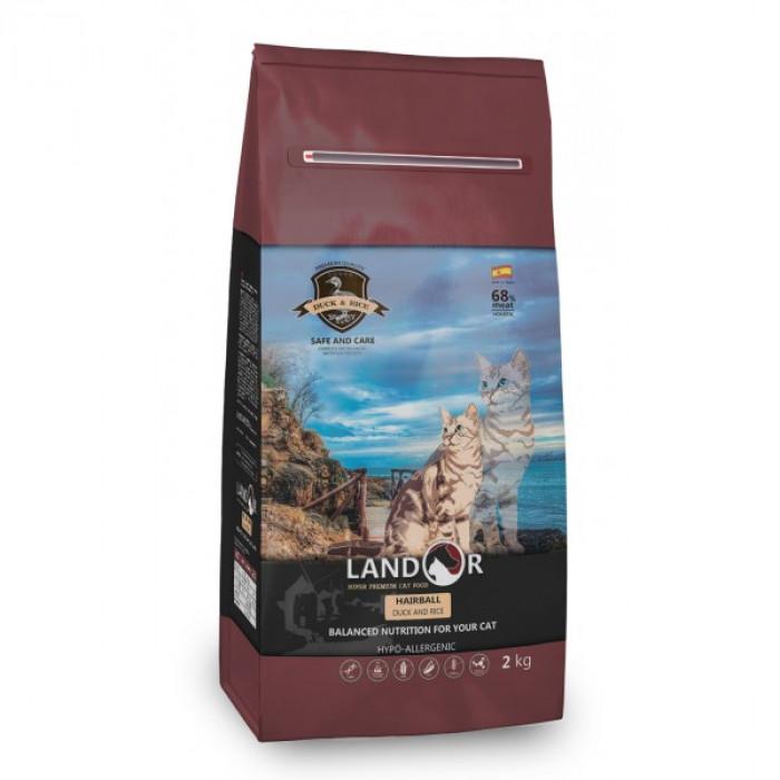 Корм Landor Grain Free Lamb & Potato для кошек/для вывода шерсти из желудка и контроля веса ягненок с бататом, 2 кг