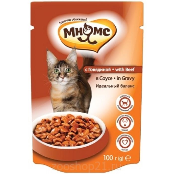 Мнямс паучи для взрослых кошек с говядиной в соусе, идеальный баланс, 100 г