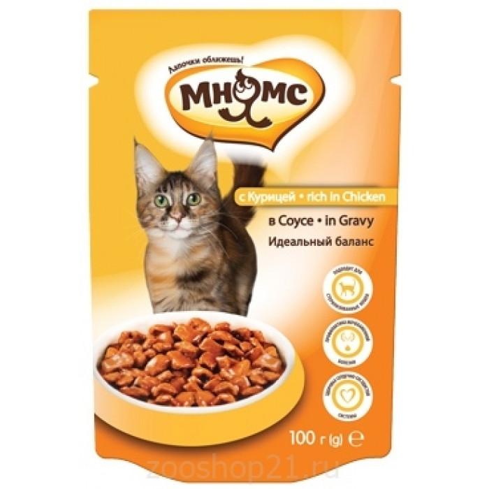 Мнямс паучи для взрослых кошек с курицей в соусе, идеальный баланс, 100 г