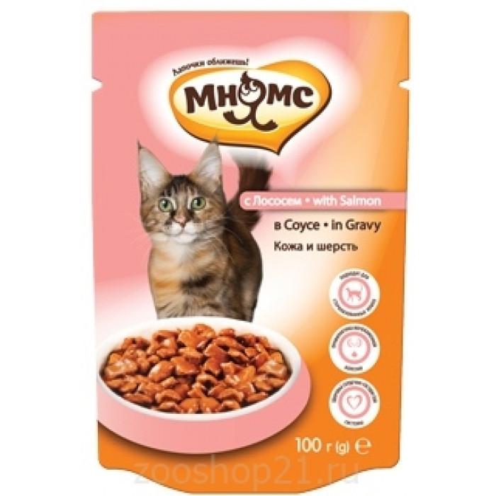 Мнямс паучи для взрослых кошек с лососем в соусе, кожа и шерсть, 100 г