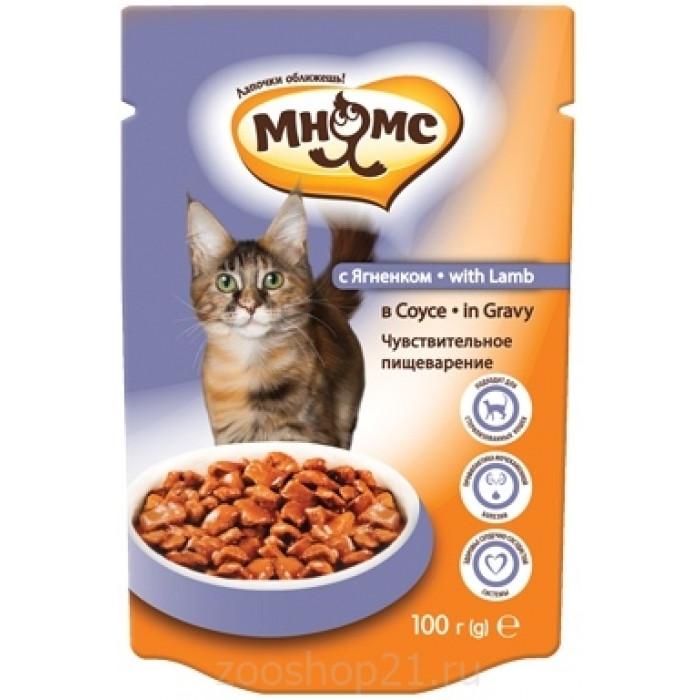 Мнямс паучи для взрослых кошек с ягненком в соусе, чувствительное пищеварение, 100 г