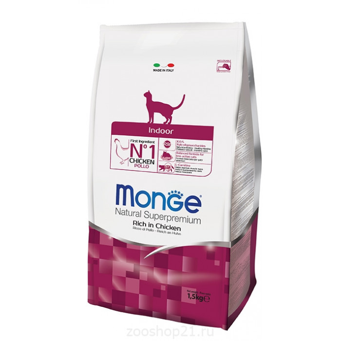 Корм Monge Cat Indoor для домашних кошек, 400 г