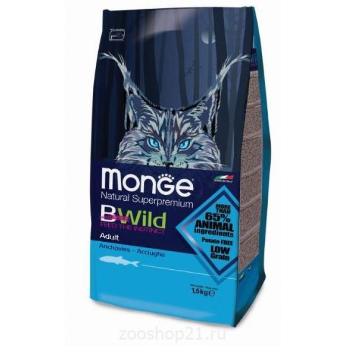 Корм Monge BWild Cat Anchovies для взрослых кошек с анчоусами 1.5 кг