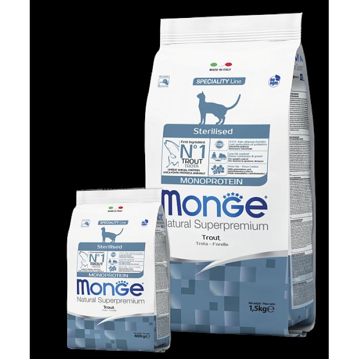 Корм Monge Sterilised Trout Cat для стерилизованных кошек с форелью, 1.5 кг