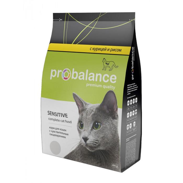 Корм ProBalance для кошек с чувствительным пищеварением курица/рис, 400 г