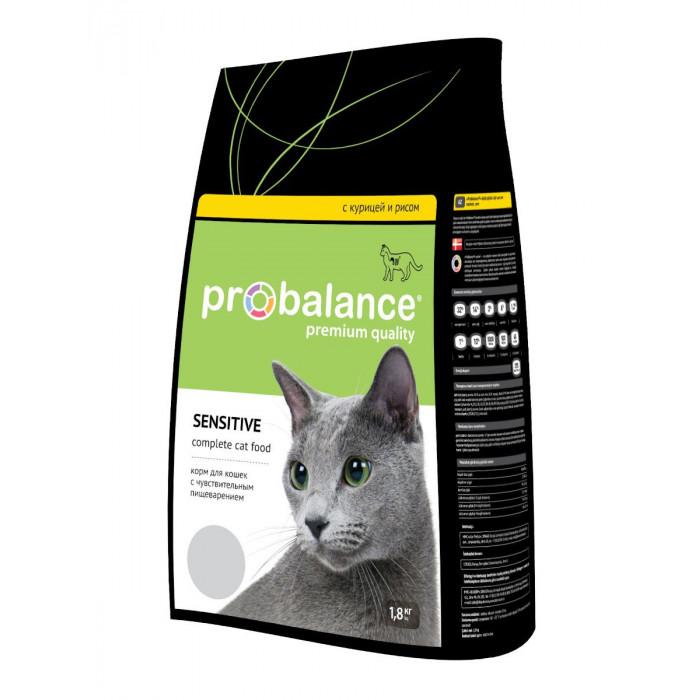 Корм ProBalance для кошек с чувствительным пищеварением Курица/Рис, 1.8 кг