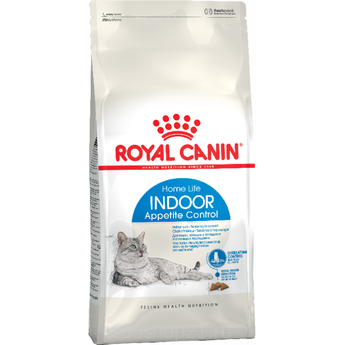 Корм Royal Canin Indoor Appetite Control для домашних кошек, склонных к перееданию, 400 г