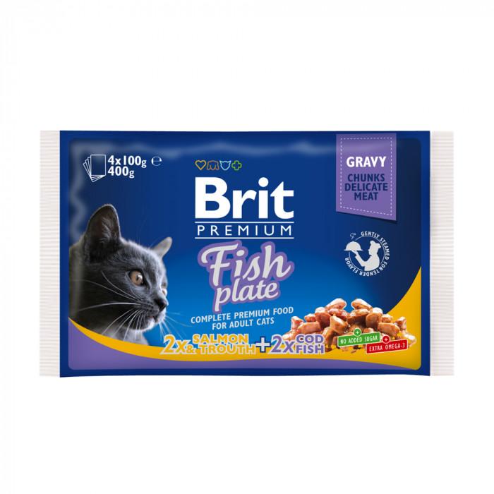 Корм Brit Premium Fish Plate ассорти Рыбная тарелка (4x100г), 400 г