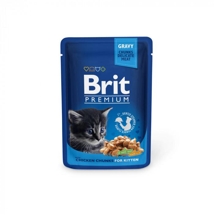 Корм Brit Premium Chicken Chunks for Kitten для котят курица, 100 г