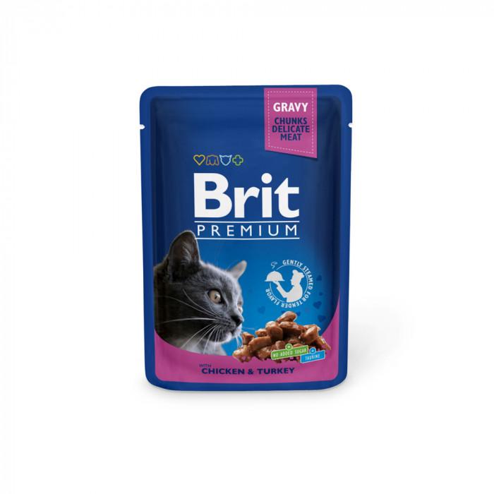 Корм Brit Premium Chicken&Turkey для кошек курица и индейка, 100 г
