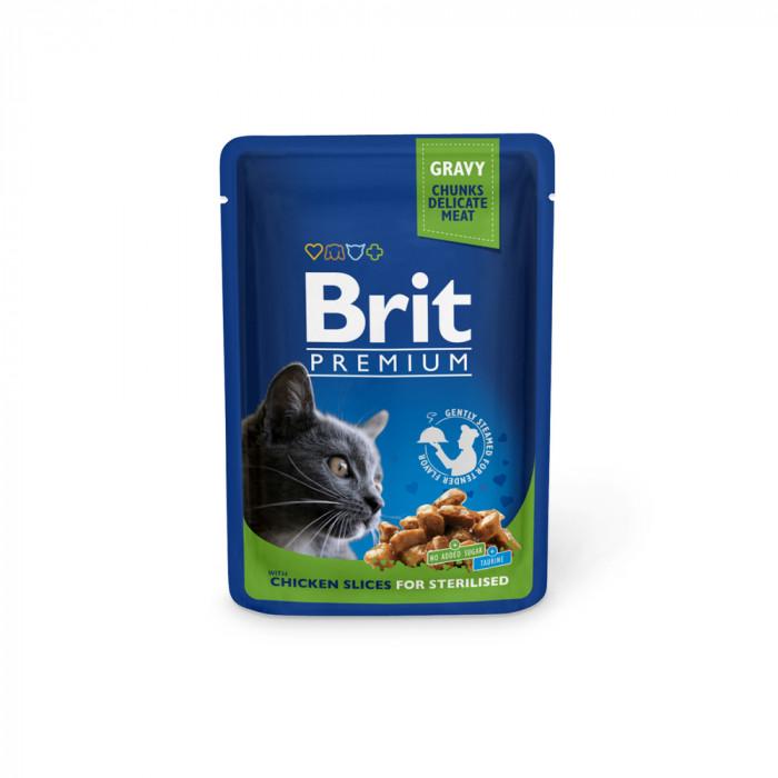 Корм Brit Premium Chicken Slice for Sterilized для стерилизованных кошек курица, 100 г