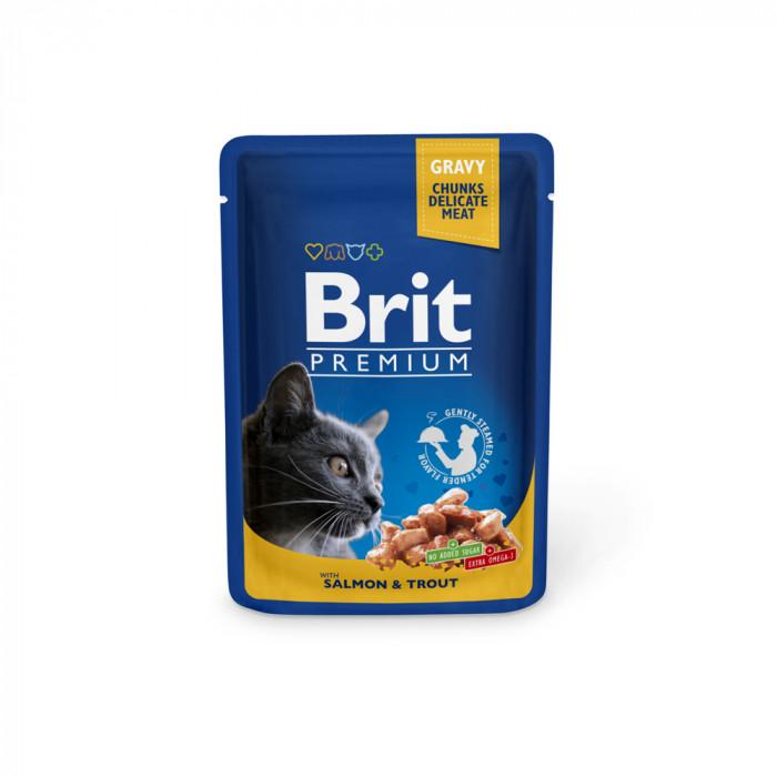 Корм Brit Premium Salmon&Trout для кошек лосось и форель, 100 г