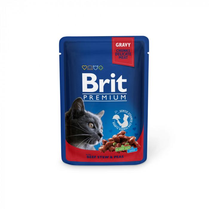 Корм Brit Premium Beef Stew & Peas для кошек говядина и горошек, 100 г