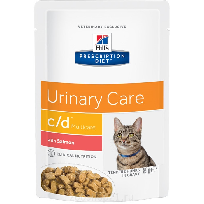Корм Hill's Prescription Diet c/d Multicare Urinary Care пауч для кошек диета для поддержания здоровья мочевыводящих путей с лососем, 85 г