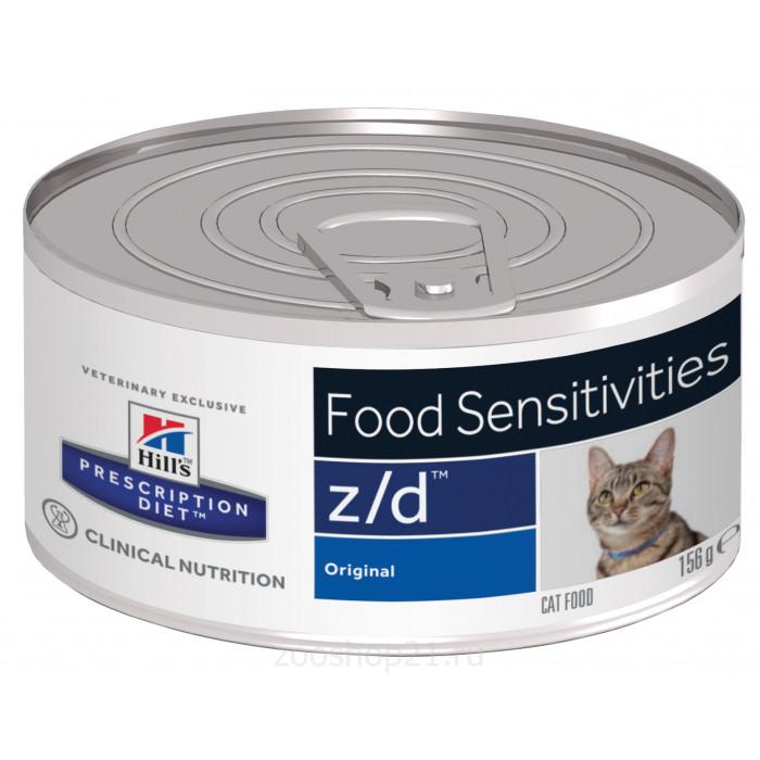 Корм Hill's Prescription Diet z/d Food Sensitivities консервы для кошек диета для поддержания здоровья кожи и при пищевой аллергии, 156 г