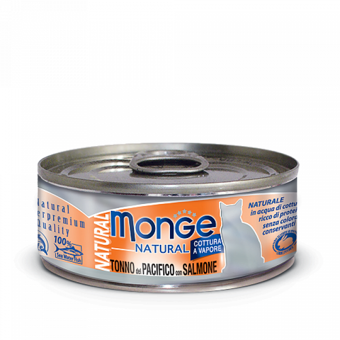 Корм Monge Cat Natural консервы для кошек тихоокеанский тунец с лососем, 80 г