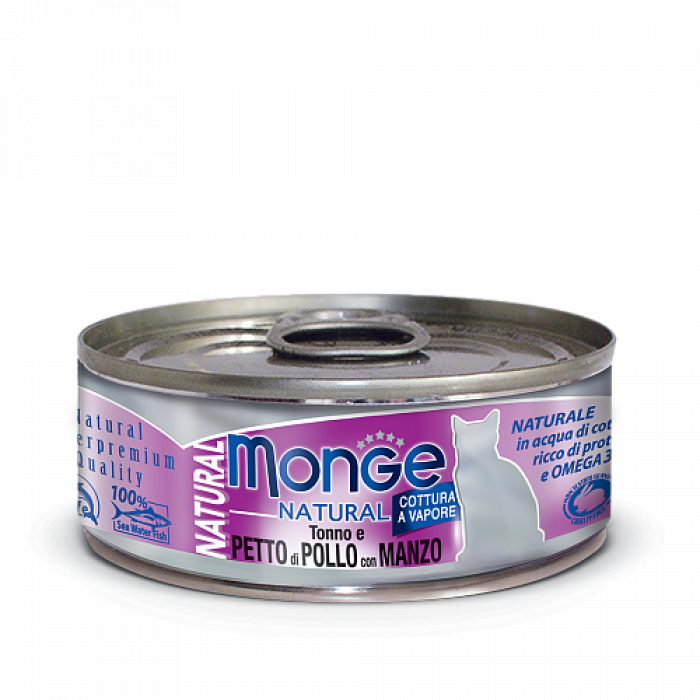 Корм Monge Cat Natural консервы для кошек тунец с курицей и говядиной, 80 г