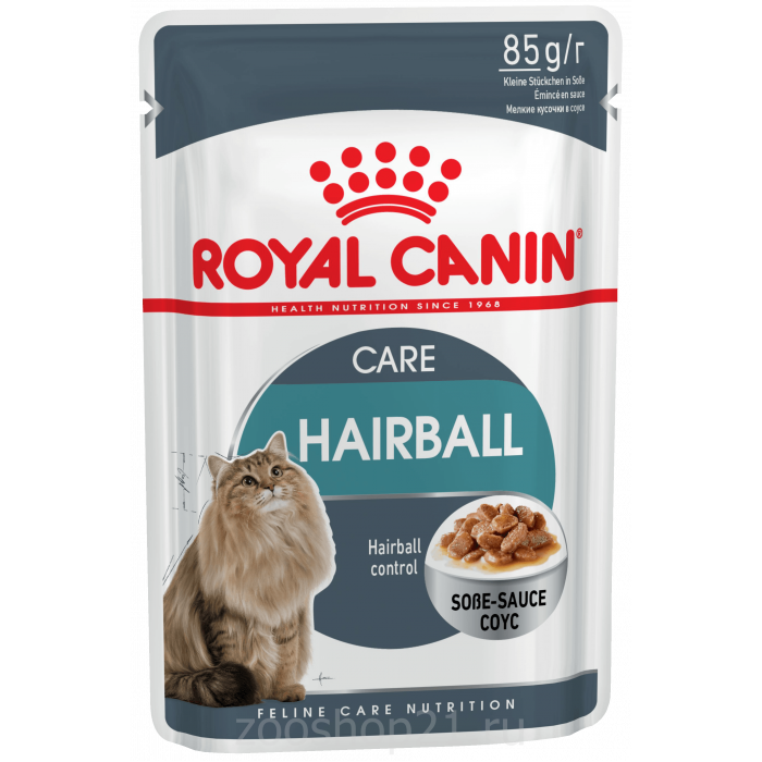 Корм Royal Canin Hairball Care (в соусе) для вывода шерсти из желудка, 85 г