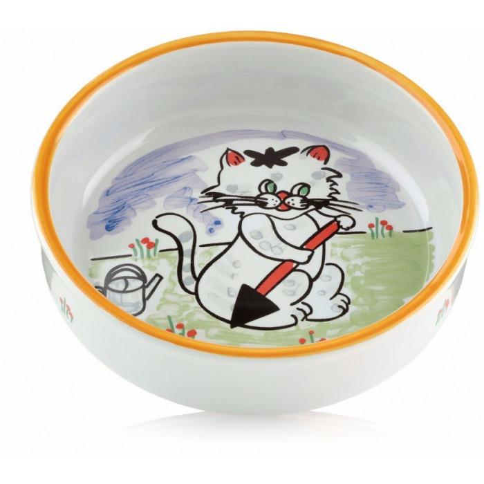 Миска для кошек с изображением кошки, фарфоровая 0,3л, 13см