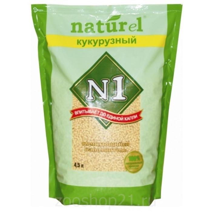 """N1 Комкующийся наполнитель Naturel """"Кукурузный"""" на 4,5л, 1.81 кг"""