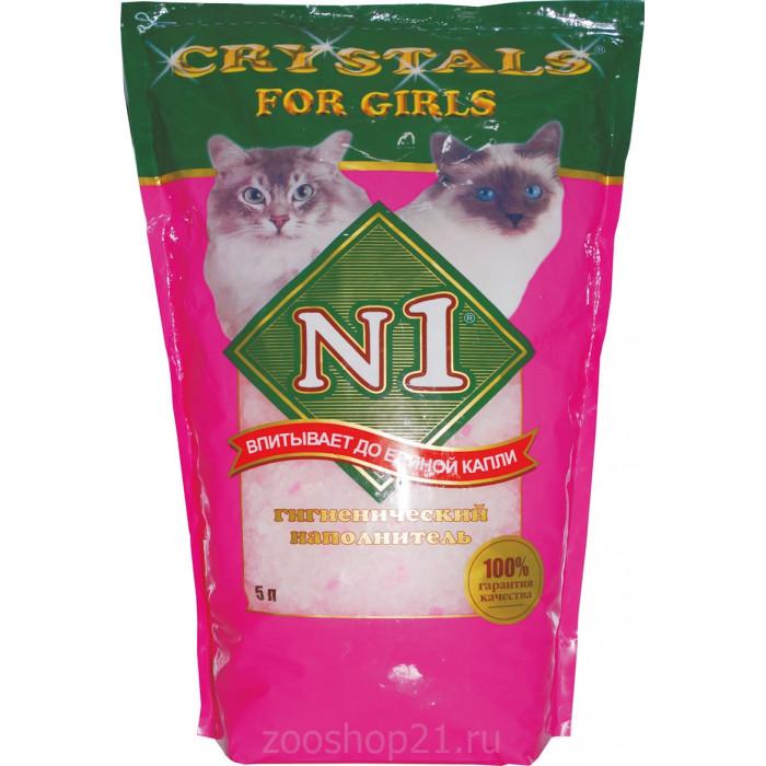 N1 Силикагелевый наполнитель для кошек, розовый 5 л